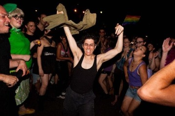 Fucking hot-ass queers dancing hard in front of the Stonewall.