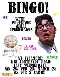 Bingo flyer for event at Sycamore